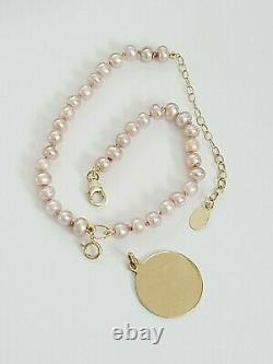 14K YELLOW GOLD PURPLE PEARL Dog/ Cat/ PET Necklace. PEARL Pet Collar