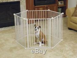 28 Tall Convertible Pet Yard Puppy Gate Adjustable White Heavy Duty Dog Pen