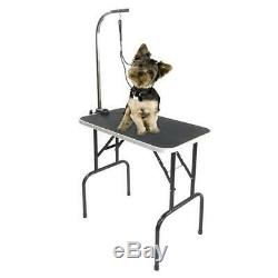 32 Adjustable Foldable Dog Cat Pet Grooming Table withArm Rubber Feet Black