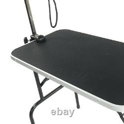 32'' Adjustable Pet Dog Cat Grooming Table Top Foldable WithArm&Noose Rubber Mat