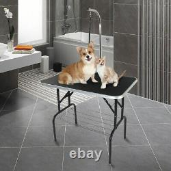 32 Foldable Pet Dog Cat Grooming Table with Adjustable Arm Silver Base/Noose