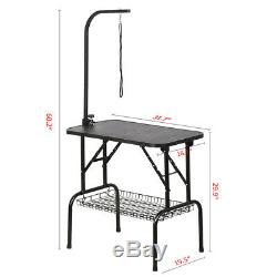 32 Pet Dog Grooming Table Foldable Adjustable withArm/Noose/Storage Tray Black