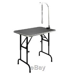 35''Portable Adjustable Large Pet Dog Cat Grooming Table Top PVC Mat WithArm&Noose