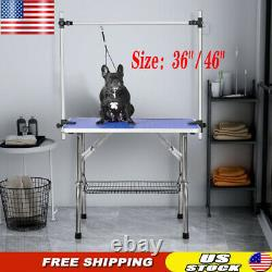 36/46 Pet Grooming Table with Adjustable Arm, Mesh Tray and Noose for Dog Cat