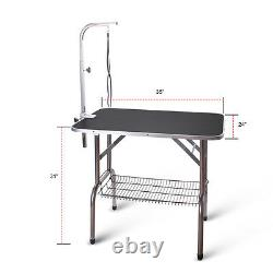 36'' AdjustablePortable Pet Dog Cat Grooming Table Dog Show WithArm &Noose