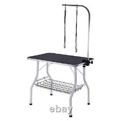 36''Dog Cat Pet Grooming Table Portable Folding Adjustable 2 Noose Arm Mesh Tray