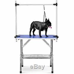 36'' Pet Dog Cat Trimming Grooming Table Desk Adjustable Arm&Noose&Mesh Tray