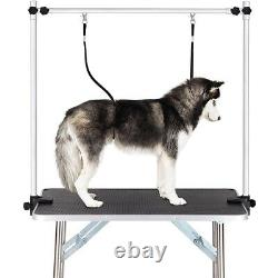 36 Pet Dog Grooming Folding Trimming Table Arm Adjustable withNoose Tray Non-Slip