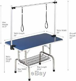 36 Pet Grooming Table for Large Dog Adjustable Height Folable Portable Blue