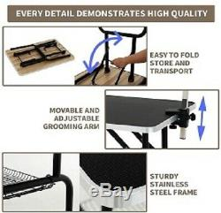 36 Portable Adjustable Folding Dog Cat Pet Grooming Table Arm Noose Mesh Tray