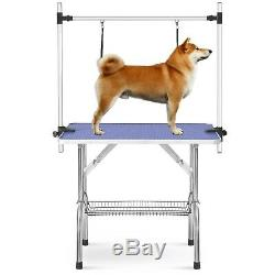 36 Portable Pet Dog Grooming Table Foldable withAdjustable Arm Noose Storage Tray