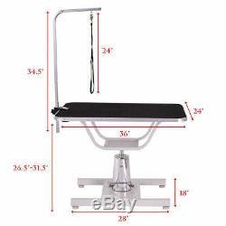 36x24 Pet Hydraulic Grooming Table Dog Cat Adjustable Heavy Duty with Arm Noose