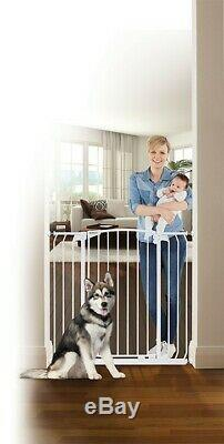 38-42 XTall Auto-Close Adjustable White Indoor Dog, Pet & Baby Safety Gate