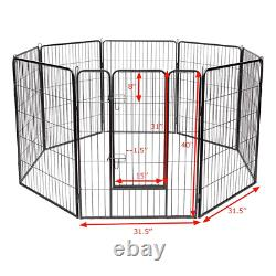 40 inch Dog Playpen Fence 8 Heavy Duty Metal Panel withGate Folding Adjustable Pet