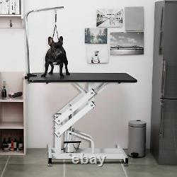 42.5 Hydraulic Dog Pet Grooming Table Z-Lift Adjustable Heavy Duty WithArm&Noose