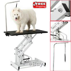 42.5 Z-Lift Heavy Duty Hydraulic Pet Dog Cat Grooming Table with Adjustable Arm