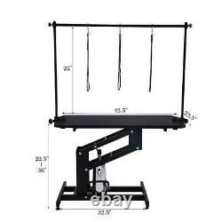 43.3x24 Z-lift Hydraulic Dog Pet Cat Grooming Table with Noose Adjustable Arm