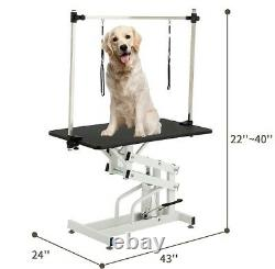 43 Hydraulic Folding Cat Dog Adjustable Pet Grooming Arm Noose Mesh Tray Table