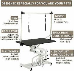 43 Hydraulic Folding Dog Cat Adjustable Pet Grooming Arm Noose Mesh Tray Table