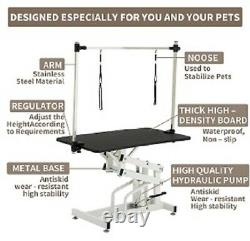 43 Hydraulic Folding Dog Cat Pet Grooming Table Adjustable Arm Noose Mesh Tray