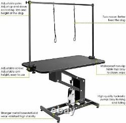 43 Hydraulic Pet Dog Grooming Table Adjustable Height with Arm Noose Heavy Duty