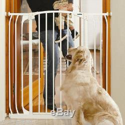 45-49 XTall Auto-Close Adjustable White Indoor Dog, Pet & Baby Safety Gate