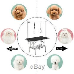 45 Foldable Pet Grooming Table W /Arm Frame & Noose & Storage Rack for Dogs Cat