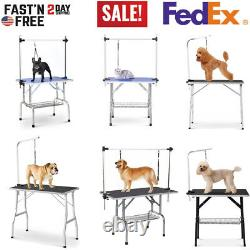 46''/36''/32''/30'' Foldable Pet Dog Grooming Table Desk With Adjustable Arm Noose