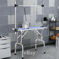 46''/36'' Adjustable Pet Dog Cat Grooming Table Show withArm &Noose & Mesh Tray