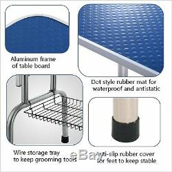 46 Adjustable Dog Cat Pet Grooming Table with Arm Noose Rubber Mat Portable