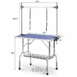 46'' Blue Adjustable Heavy Duty Dog Cat Pet Grooming Table WithArm Noose Mesh Tray