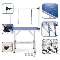 46 Folding Dog Pet Grooming Table with Adjustable Arms and Clamps for Dog Cat
