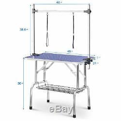 46 Folding pet Dog Grooming Table with Storage mesh Tray & Height Adjustable Arm