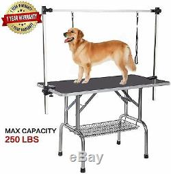 46'' by 24'' Large Adjustable Pet Dog Grooming Table WithArm/Double Grooming Loop