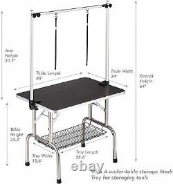 46in Large Heavy Duty Pet Dog Grooming Table with Adjustable Overhead Arm Black