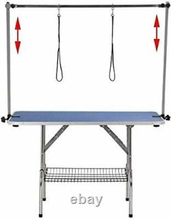46in Large Heavy Duty Pet Dog Grooming Table with Adjustable Overhead Arm Blue