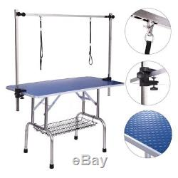 46inch Large Pet Dog Grooming Table with Adjustable Overhead Arm Noose Mesh Tray