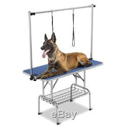 47 Large Heavy Duty Pet Dog Cat Grooming Table WithAdjustable Arm Noose Tray Blue