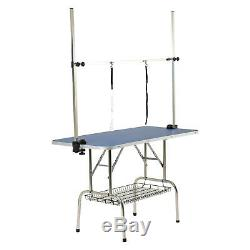 47 Portable Folding Grooming Table Dog Cat Pet Adjustable withArm&Noose&Shelf