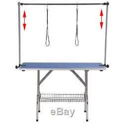 47 XLarge Foldable Dog Cat Pet Grooming Table Arm Noose Groom Rubber Feet Blue