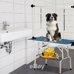 48 Portable Folding Dog Cat Pet Grooming Table Adjustable Arm Noose Mesh Tray