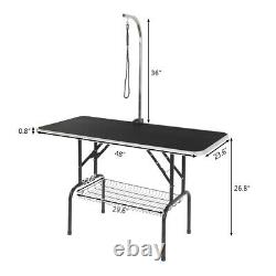 48 Portable Pet Dog Grooming Table Foldable with Tray Large Adjustable Arm/Noose