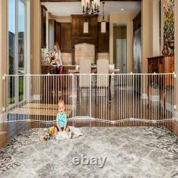 4 In 1 Super Wide Adjustable Baby Gate Playard Durable Pet Dog Fence 192 White
