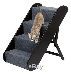 4-Step Pet Stairs Adjustable Dog Ladder Carpet Cover Wood Leg Ramp Couch Bed New