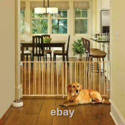 60-103 Inch Swing Baby & Dog Pet Safety Fence Large Gate Natural Wood Extra Wide