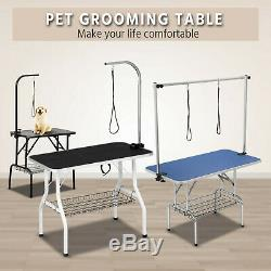Adjustable Pet Dog Cat Grooming Table WithNoose&Arm&Mesh Tray 323647