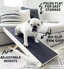 Adjustable Pet Ramp 40 Dog Cat Stairs Folding Paw Wood Alpha Steps Couch Bed XL