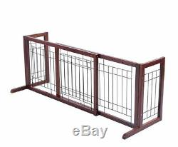 Adjustable Wood Dog Gate Pet Fence Playpen Indoor Solid Construction Stand Free