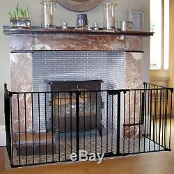Baby Safety Gate Fireplace Fence Hearth Door Extra Wide Metal Child