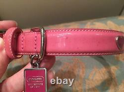 COACH Pink Patent Leather Dog Pet Collar with Red Hearts S Small 3357